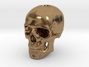 14mm .55in Keychain Bead Human Skull in Natural Brass