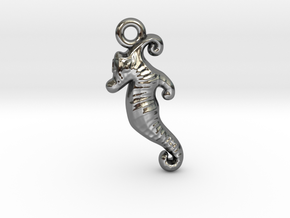 Seahorse Pendant in Fine Detail Polished Silver