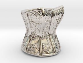 Victorian Damask Corset, c. 1860-68 in Rhodium Plated Brass