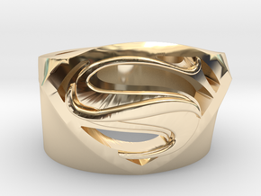 SuperManRIng - Man Of Steel Size US10 in 14K Yellow Gold