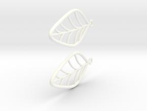 Leaf Earrings in White Processed Versatile Plastic