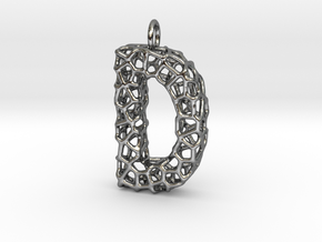 Organic D Pendant in Fine Detail Polished Silver