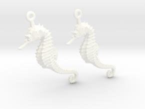 Sea Horse Earrings in White Processed Versatile Plastic