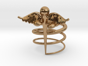 Caduceus Ring (size 9) in Polished Brass