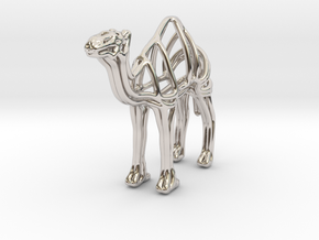 Camel Wireframe Keychain  in Rhodium Plated Brass