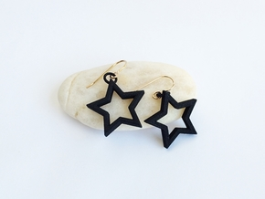 Star Earrings  in Black Natural Versatile Plastic