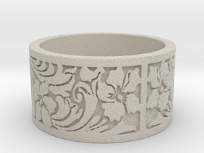 Floral ss Ring Size 8 in Natural Sandstone