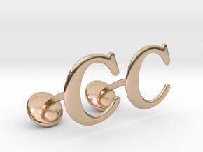 Initial Cufflinks (C) in 14k Rose Gold Plated Brass