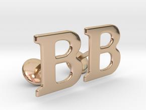 Initial Cufflinks (B) in 14k Rose Gold Plated