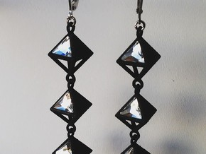 "Pyramid Earrings , ""Points of view"" collection in Black Natural Versatile Plastic"