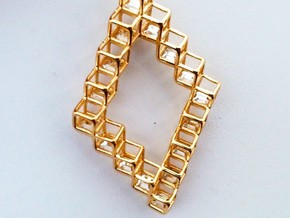 "Cube Earrings 1  ""Points of View"" collection in 14k Gold Plated Brass"