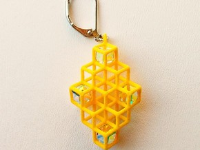 "Cube Earrings 2 ""Points of View"" collection in Yellow Processed Versatile Plastic"