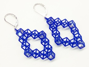 "Cube Earrings 3 ""Points of View"" collection in Blue Processed Versatile Plastic"