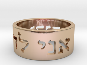 I am my beloved's and my beloved is mine, Hebrew S in 14k Rose Gold