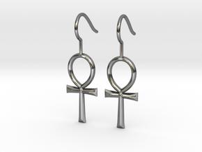 Ankh Earrings in Fine Detail Polished Silver