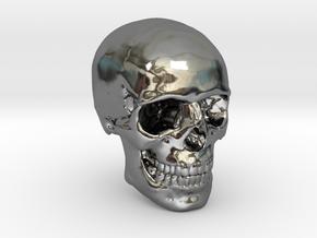 1/24  Human Skull Crane Schädel че́реп in Fine Detail Polished Silver