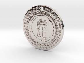 Lucky 38 'Platinum' Chip Pendant in Platinum: Extra Small