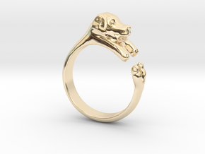 Puppy Dog Ring - (Sizes 4 to 15 available) Size 9 in 14k Gold Plated Brass