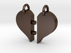 Heart Pendants-redesign in Polished Bronze Steel
