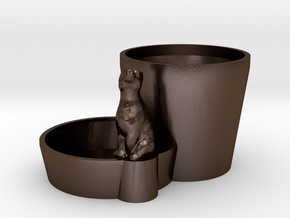 Plant pot with animal in Polished Bronze Steel