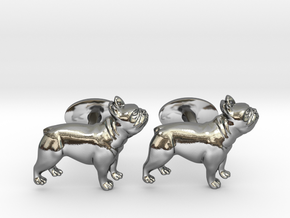 French Bulldog Cufflinks. in Fine Detail Polished Silver
