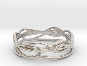 Ring Design 01 Ring Size 10 in Rhodium Plated Brass
