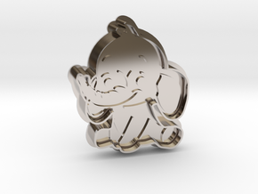 Cookie Cutter - Animal - Elephant in Rhodium Plated Brass