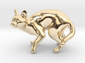 Fearing Gray Chartreux in 14k Gold Plated Brass