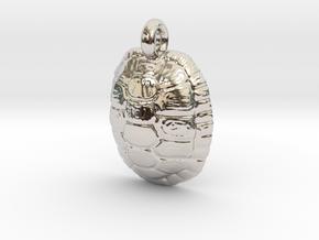 Turtle Shell Pendant Version 1 in Platinum