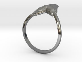 Shark Tooth Pinky Ring in Fine Detail Polished Silver