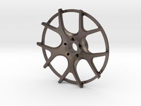 Twin Five Spoke Wheel Face in Polished Bronzed Silver Steel