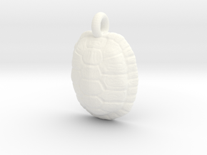 Turtle Shell Pendant Version 1 in White Processed Versatile Plastic
