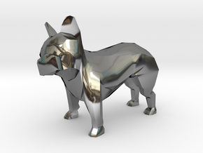 Low Poly French Bulldog in Fine Detail Polished Silver