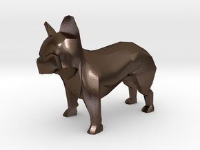 Low Poly French Bulldog in Polished Bronze Steel