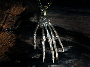 Hand bones with loop in Polished Bronzed Silver Steel