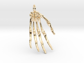 Hand bones with loop in 14k Gold Plated Brass