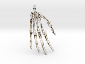 Hand bones with loop in Rhodium Plated Brass