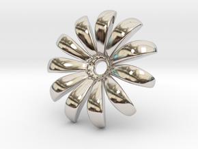 Daisy Pendant Shapeways in Rhodium Plated Brass
