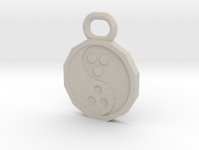 Dudeist Pendant (Heads on Both Sides) in Natural Sandstone
