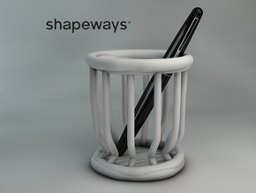 Pen Holder in White Processed Versatile Plastic