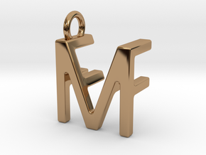 Two way letter pendant - FM MF in Polished Brass