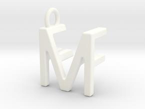Two way letter pendant - FM MF in White Processed Versatile Plastic