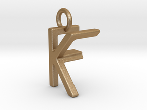 Two way letter pendant - FK KF in Matte Gold Steel