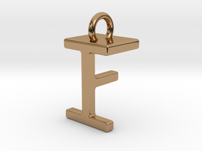 Two way letter pendant - FI IF in Polished Brass
