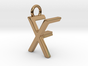 Two way letter pendant - FX XF in Polished Brass