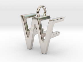 Two way letter pendant - FW WF in Rhodium Plated Brass