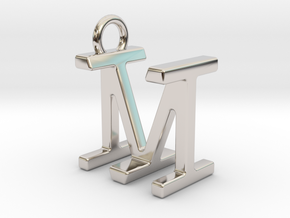 Two way letter pendant - IM MI in Rhodium Plated Brass
