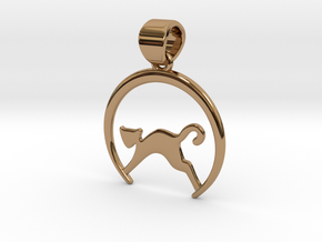 Cat Pendant in Polished Brass