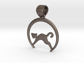 Cat Pendant in Polished Bronzed Silver Steel