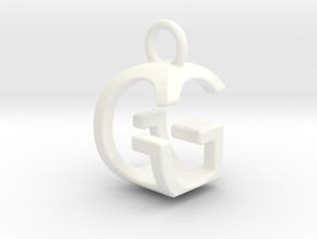 Two way letter pendant - GG G in White Processed Versatile Plastic